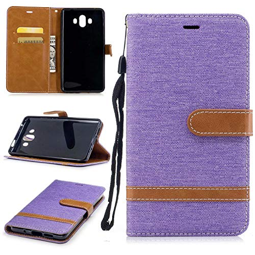 Huawei Mate 10 Hülle TXLING Denim PU Leder Flip Wallet Cover in Book Style Stand Case Card Slot Leder Tasche Case Karteneinschub und Magnetverschluß Kratzfestes für Huawei Mate 10 - lila