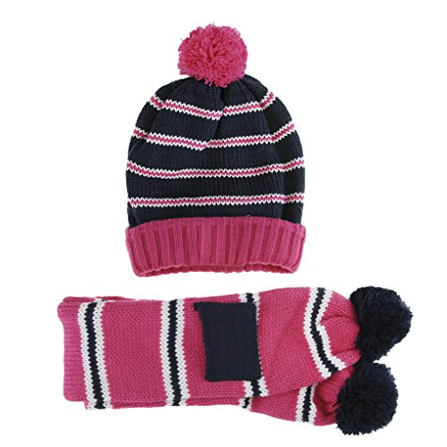 3 Stück Wintermütze (Kinder Strickmütze 2 Stück set Wintermütze mit Schal süß Baby Winterschal gestrickte Mütze warm Schnee Hut für Jungen und Mädchen (2-8 Jahre))