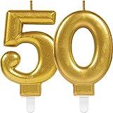Amscan/Carpeta 2x Zahlenkerzen * ZAHL 50 * in GOLD//11cm x 9cm groß//Deko Goldene Hochzeit Jubiläum Geburtstagskerze Kerze Geburtstag