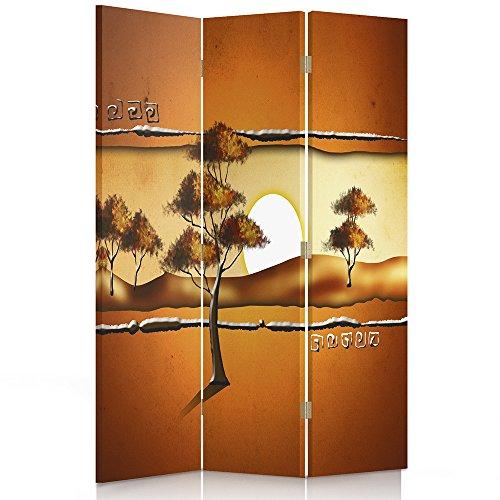 Feeby Frames. Raumteiler, Gedruckten aufCanvas, Leinwand Wandschirme, dekorative Trennwand, Paravent beidseitig, 3 teilig, 360° (110x180 cm), ABSTRAKTION, SAVANNE, AFRIKA, SONNENAUFGANG, BÄUME, GELB, ORANGE