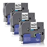 Labelwell 18mm Tze-241 Schwarz auf Weiß - 3 Rollen Kompatibel Brother Tze-241 Tze241 Tz-241 Etikettenband, Schriftband für Brother P touch PT D450VP D400 E300VP E500VP P900W P950NW D600VP P750W E300 2030 2100 H300 1950 18R 18RZ Beschriftungsgerät (3/4