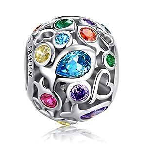 FOREVER QUEEN Damen Regenbogenfarben Charm Anhänger für Armband 925 Sterling Silber Beads Bunt Charm Bead Mit Geschenkbox MEHRWEG