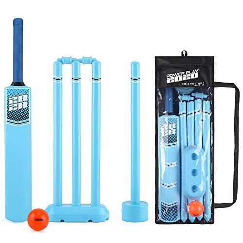 PowerPlay Cricket-Set aus Kunststoff mit Cricketschläger, Kwik Cricketball, 4 Stäbe, Bügel und Tasche, Größe 3 - Cricket-fledermäuse Gm