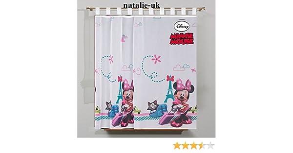 Tende Bambini Disney : Disney minni in paris tenda con passanti cameretta in voile 75cm l x