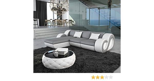 Couch nashville grau weiss 270x190 cm ottomane variabel led ecksofa amazon de küche haushalt