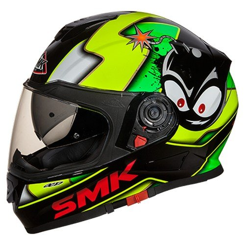 SMK GL241 Twister Cartoon Graphics Pinlock Fitted Full Face Helmet With Clear Visor (Gloss Black, Fluorescent Yellow and White, XL)