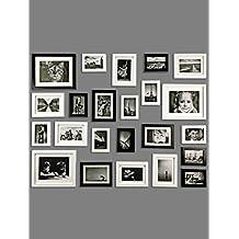 Conjunto de Marcos de Fotos de MADERA SÓLIDA - Set de 23 Marcos - Con Paspartú - Negro&Blanco - REBAJA - ¡Anchura del Marco 2cm!