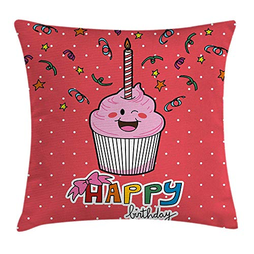 ZTLKFL Birthday Decorations Throw Pillow Cushion Cover, Pink Strawberry Cupcake with Candle Cute Face Confetti Bow Tie Dots, Decorative Square Accent Pillow Case, 18 X 18 Inches, Multicolor Handmade Printed Silk Tie
