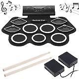 UFLIZOGH Drum Elektronisches Schlagzeug Kit 9 Pads Roll Up Drum Kit Tragbare e-drum tragbares Rollup (Schwarz)