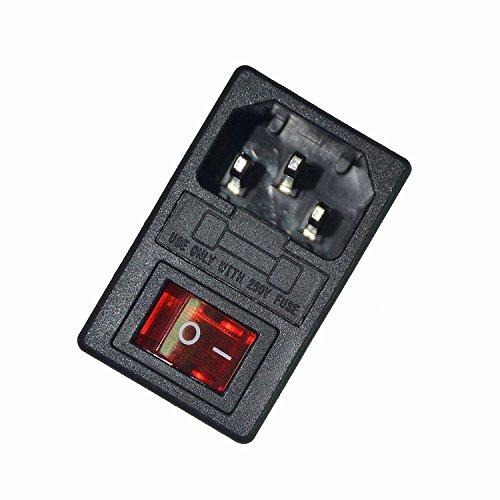 JOYNANO 3-in-1 Einlassmodulstecker 5A Glas-Sicherungswippschalter Rotlicht 3-polig IEC320 C14 passend 1,5mm Paneeldicke Snap-In Packung mit 2 -