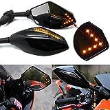 Motocicleta LED Gire Indicador de señal integrado parte delantera y trasera Retrovisor Espejos para Racing Sport Deporte Bicicleta (Negro liso+Lente de humo)