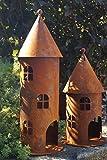 Edelrost Turm klein Höhe 42 cm Gartendekoration Leuchtturm Fenster Beleuchten - 1 Stück Turm klein