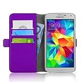 JAMMYLIZARD Lederhülle für Samsung Galaxy S5 / S5 Neo | Handyhülle Book Case Tasche [ Luxuriöse Series ] Ledertasche Flip Cover Hülle Leder Schutzhülle mit Kartenfach, Lila