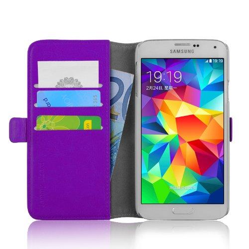 JAMMYLIZARD | Funda De Piel Para [ Samsung Galaxy S5 / S5 Neo ] Luxury Wallet Tipo Cartera, MORADO