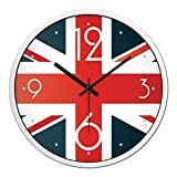 GuoEY No wall clock decoration of tickflag the calm personality silent movement Alarm Clock Wall Clock-B 12inch