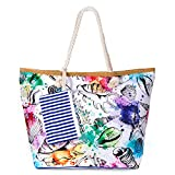 zedela Große Strandtasche mit Reissverschluss, Damen Canvas Schultertasche Tasche, Einkaufstasche...