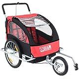 Remorque de vélo pour 1 à 2 enfants convertible jogger Rouge