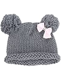Bestknit Bebé Niña tejido Sombrero Chapeau Gorro caliente invierno fotografía prop pompón Lazo Gris small