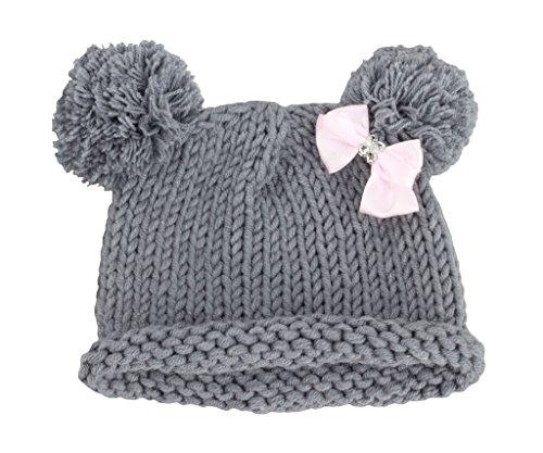 Bestknit Bebé Niña tejido Sombrero Chapeau Gorro caliente invierno  fotografía prop pompón Lazo Gris small 365fa97fee1