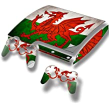 Colección 32, Custom Consola PS3 FAT Slim Full Body diseño pantalla Skin Protector Funda Flagge Wales 1 PS3 Slim Designfolie