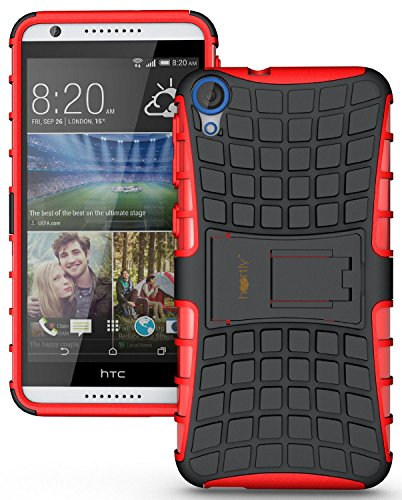 Heartly Flip Kick Stand Spider Hard Dual Rugged Armor Hybrid Bumper Back Case Cover For HTC Desire 820 820Q Dual Sim - Hot Red