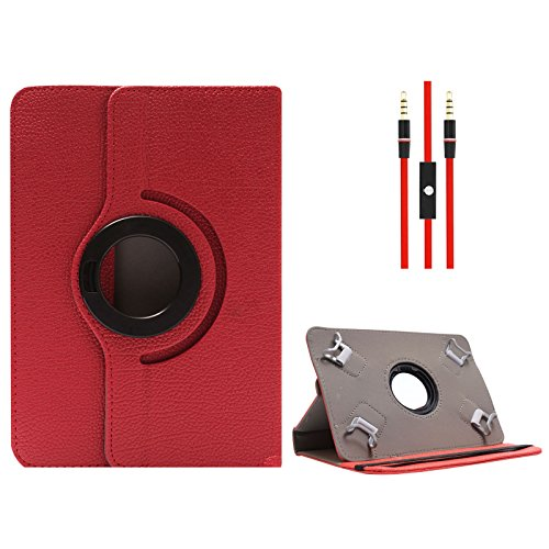 DMG Protective Flip Book Cover Stand View Case for Digiflip Pro ET701 (Red) + 3.5mm Flat AUX Cable with Mic  available at amazon for Rs.499