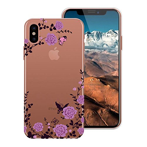 WE LOVE CASE Coque iPhone X, Ultra Fine Souple Gel Coque iPhone X Silicone Motif Coque Girly Resistante, Coque de Protection Bumper Officielle Coque Apple iPhone X Ananas Papillon Rose