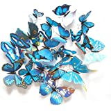 12Pcs 3D Colorful Butterfly Magnets Wall Fridge Stickers Wall Decal DIY Removable Art Decor Crafts For Nursery Classroom Kids Baby Bedroom Bathroom Living Room