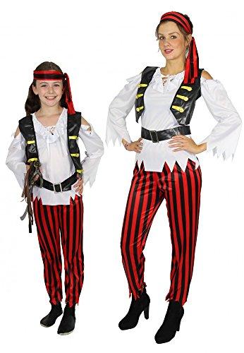Foxxeo 40245 IFreibeuterin Piratin Piratenkostüm Damenkostüm Mädchen Teens Kostüm Fasching Party 4tlg Gr. 134 - 152 - XS - XL, - Piraten Mädchen Teen Kostüm