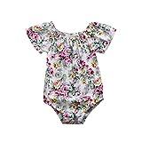 Malloom Neugeborenen Baby Strampler Jungen Mädchen Blumendruck Overall Outfits Kleidung Floral bedruckte Kurzarm-Strampler Kletterbekleidung (52, mehrfarbig)