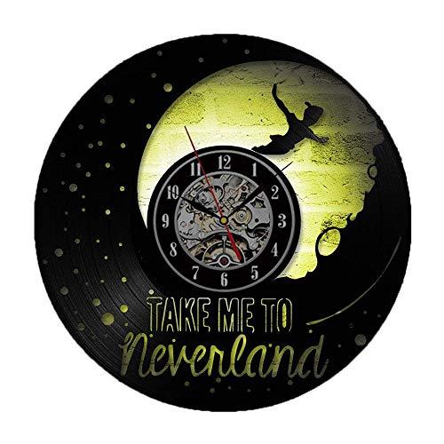Meet Beauty Wanduhr mit Peter Pan-Motiv, Kreatives Vinyl, CD-Platte, rund, einzigartig, Antikes Hängen, Anime- und Mond-Form, Romantische LED-Lampe, Nachtlicht (mit 7 Farbwechseln)