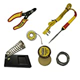 #7: soldering kit 6 in1 Electric Soldering Iron Stand Tool Wire Stripper Kit 25 Watt highquality iron ,Welding Stick Set