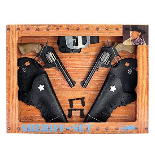 J.G.Schrödel Jesse James-Sheriff-Set: 2x Super 88 Spielzeugpistole und Pistolengürtel, in Geschenkebox, Western-Set, schwarz (195 ()