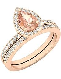 664c5943c9b DazzlingRock Collection 10 K Or Rose en Forme de Poire Cut morganite et  Coupe Ronde Diamant Blanc pour Femme mariée Halo Bague de…