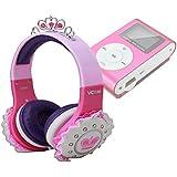 Casque princesse rose, violet et blanc enfant DURAGADGET pour Swees® MINI LECTEUR MP3 ECRAN LCD 8 GO avec Radio FM Rose (MP3 non fourni)