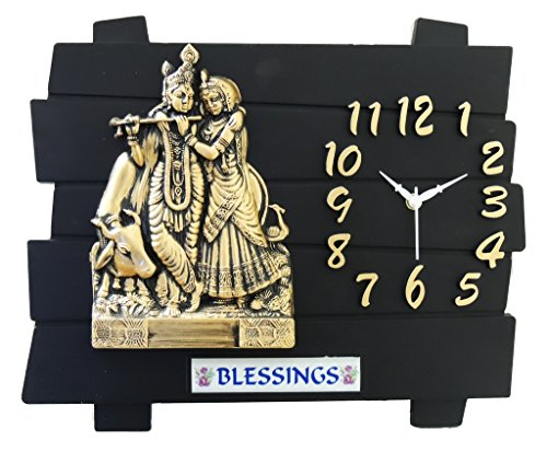 Feelings Café Club Radha Krishna Wall clock (Black , golden) Feelings Café Club Radha Krishna Wall clock (Black , golden) 51n4eqEPKWL