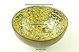 Fatto a mano ciotola decorativa noce di cocco, laccato e intarsiato con egg-shell Homeware Collection, forma rotonda, black-gold-brown naturale, H028