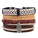 Housweety Multilayer Handmade Geflochtenes Leder Armband Armreif Armband Stil 11