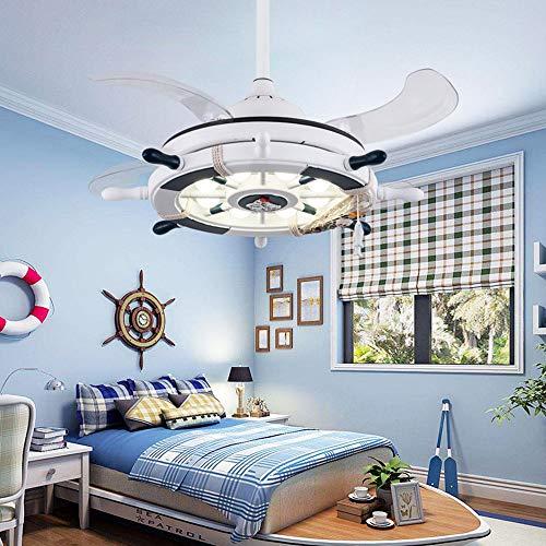 Kinderzimmer Deckenventilator Weißes Licht Unsichtbare Kleine Deckenventilator Moderne Cartoon Kreative Ruder Fernbedienung Fan Licht (Licht-fan Fernbedienung,)