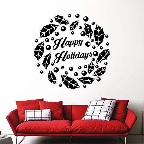 zqyjhkou Weihnachtskranz Wandtattoos Vinyl Aufkleber Urlaub Dekoration Weihnachten Design Wandkunst Aufkleber Fenster Kunst Dekor Ay713 42X42 cm