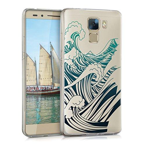 kwmobile Huawei Honor 7 / Honor 7 Premium Hülle - Handyhülle für Huawei Honor 7 / Honor 7 Premium - Handy Case in Blau Dunkelblau Transparent