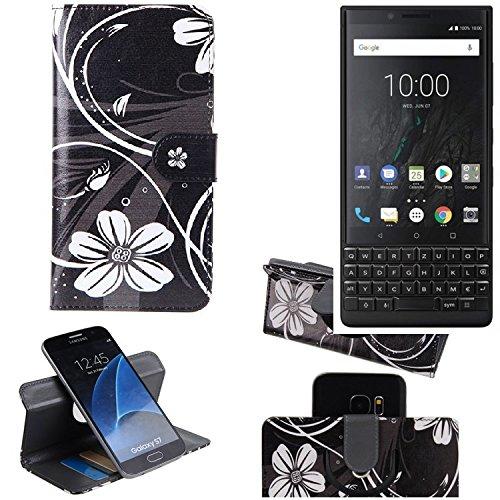 K-S-Trade® Schutzhülle Für BlackBerry KEY2 (Dual-SIM) Hülle 360° Wallet Case Schutz Hülle ''Flowers'' Smartphone Flip Cover Flipstyle Tasche Handyhülle Schwarz-weiß 1x