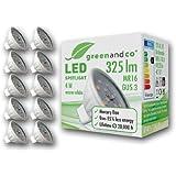 10x greenandco® LED Spot ersetzt 35-40 Watt MR16 GU5.3 Halogenstrahler, 4W 325 Lumen 3000K warmweiß 12 SMD LED 110° 12V DC Keramik mit Schutzglas, nicht dimmbar
