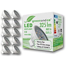 10 unidades de spots LED greenandco® MR16 / GU5.3 / 4 vatios / 325 lúmenes / 3000 K (blanco cálido) / 12 SMD LED / 110° ángulo de dispersión