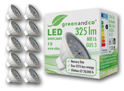 Greenandco® LED Spot MR16/GU5.3, 4 W/325 lm, 3000 K (Warmweiß), 12 SMD LED, Abstrahlwinkel, GU5.3, 4 wattsW 12 voltsV