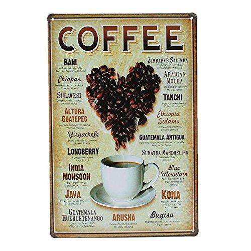 Calli Herz Kaffee Blechschild Weinlese Metallplakette Poster Bar Pub Wand Dekor -