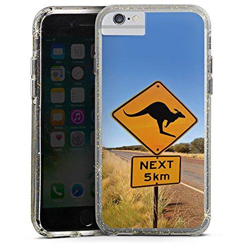 Apple iPhone X Bumper Hülle Bumper Case Glitzer Hülle Kangaroo Australien Outback Bumper Case Glitzer gold