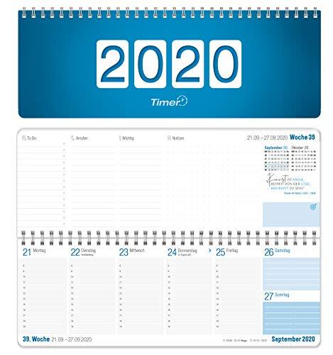 Wochen-Tischkalender 2020 im Quer-Format   1 Woche 2 Seiten   Wochenkalender in Königsblau/Weiß, 29,7 x 10,5 cm   Schreibtisch-Kalender fürs Büro und Zuhause mit vielen Zusatzinfos und Sprüchen