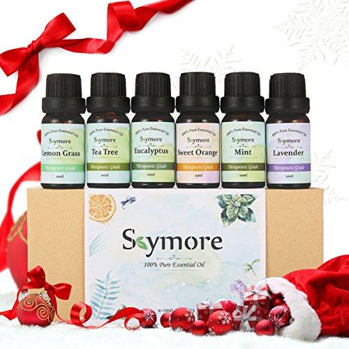 Skymore Aceites Esenciales Set de 6 Estilos Aroma, Regalo de San Valentín,(Limón, Lavanda, Té Algodón, Eucalipto, Naranja, Menta) relajación y kurren Aceite 100% Puro de Aromaterapia, 6 x 10 ml