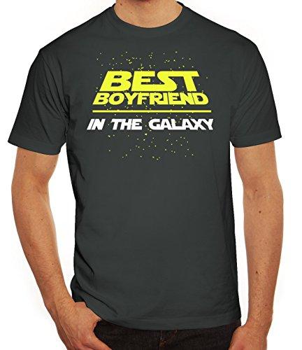 Valentinstag Paar Partner Valentine Herren T-Shirt mit Best Boyfriend In The Galaxy Motiv Darkgrey